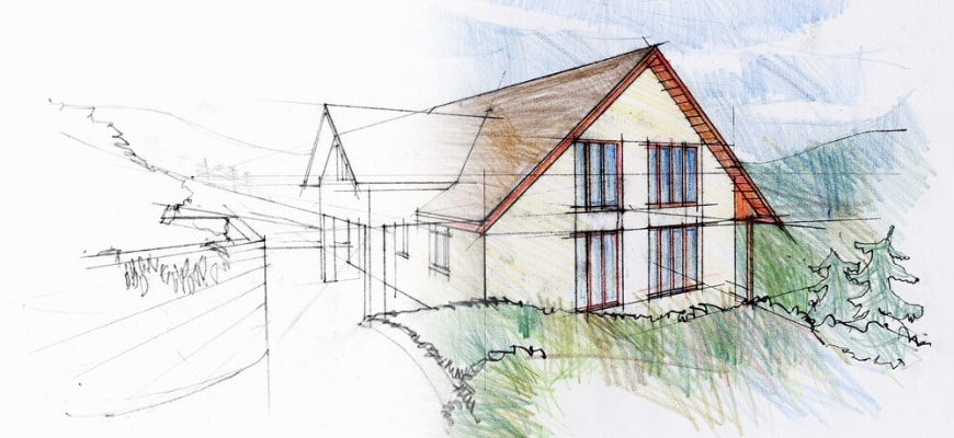 Drawn house perspective using pencil and colors on a white paper.