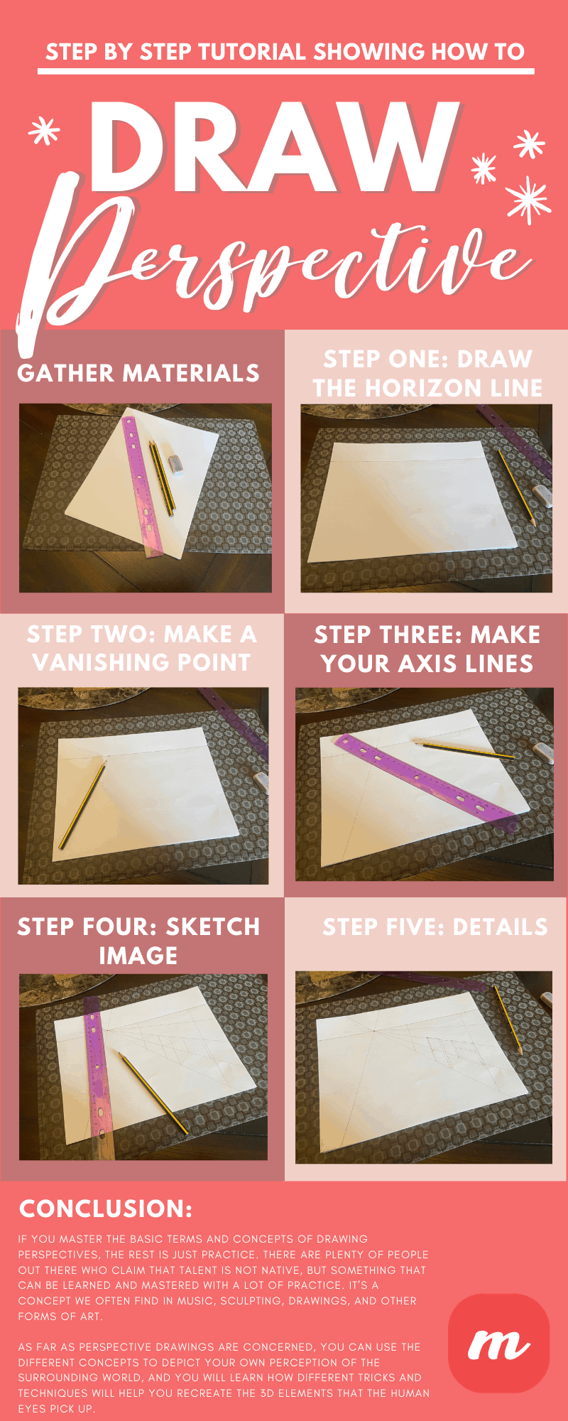 Step by Step Tutorial Showing How to Draw Perspectives - Infographic