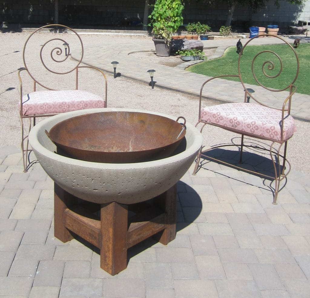 Stone and Metal Round Fire Pit