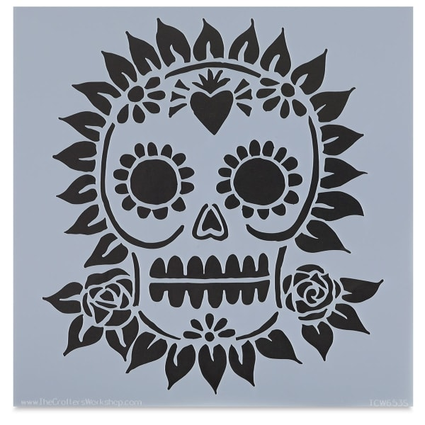 The Crafter's Workshop Stencil - Sugar Skull, 6'' x 6''