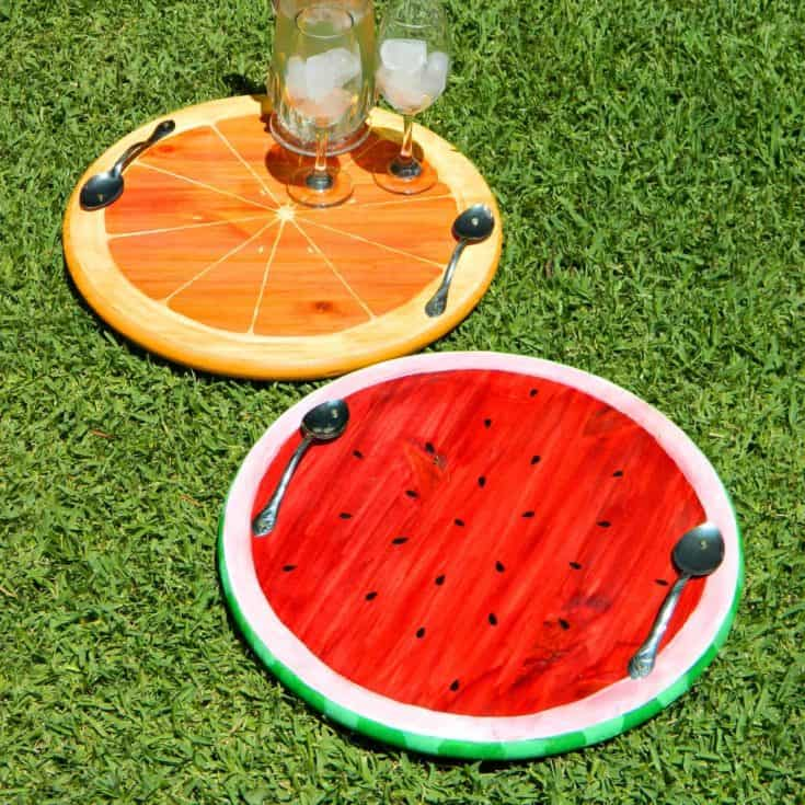Artistic Summer Fruit (Watermelon and Orange) Trays placed on green grass