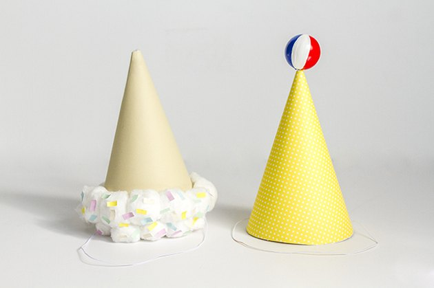 two different designs of Summer Party Hats in dirty white background