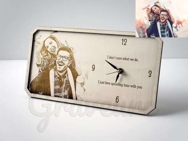 Table Clock Husband Christmas Gift For Husband Personalized Gift For Husband Wood Burned Art Custom Photo on Wood Clock Personalized