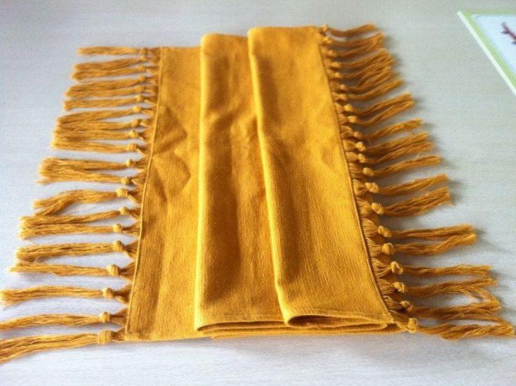 mustard tassel tablecloth