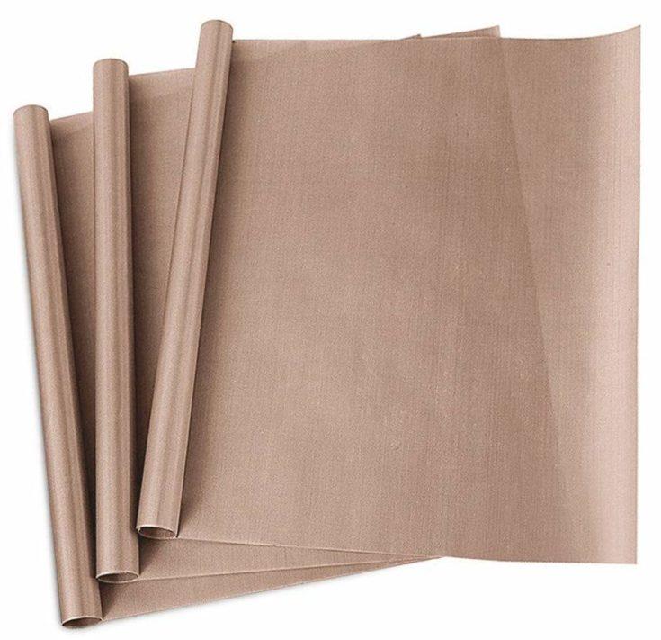 "3 Pack PTFE Teflon Sheet for Heat Press Transfer Sheet Non Stick 16 x 20"" Heat Transfer Paper Reusable Heat Resistant Craft Mat in a white background."
