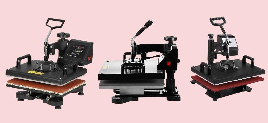 Three model of multifunction heat press machines in light pink background.