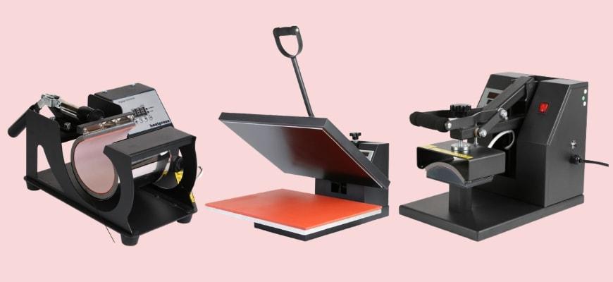 Three Vevor model heat presses in peach background.