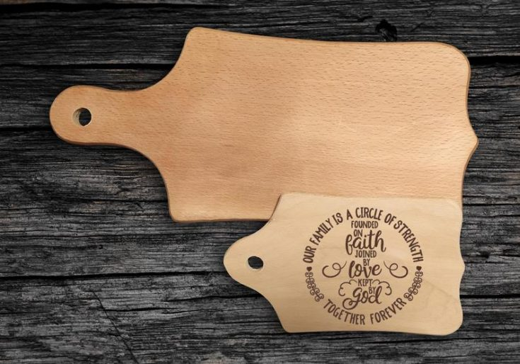 Beautiful wooden cutting board with handgraved messages.