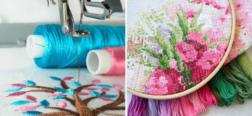 Close up shot of embroidery machine and cross stitch.