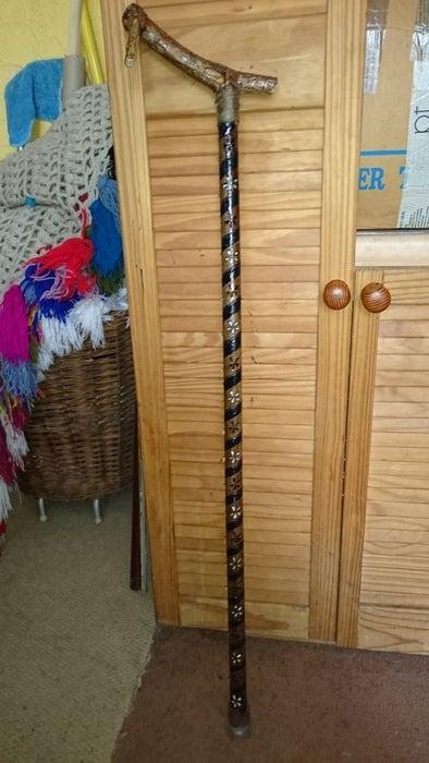 DIY walking stick from an ordinary broom handle.