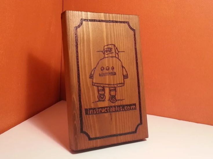 Robot Wood-Burned Picture