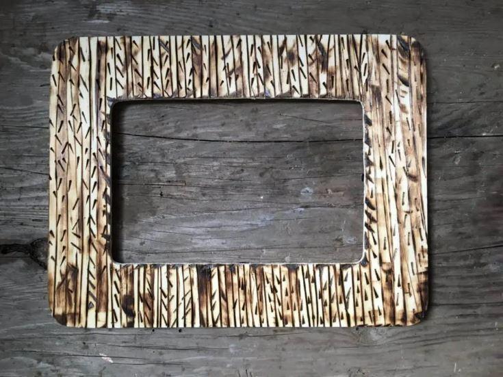 Rustic Bark Motif frame in wooden background