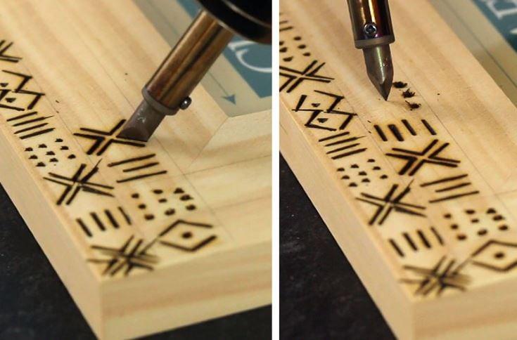 simple patterned wood burned frames