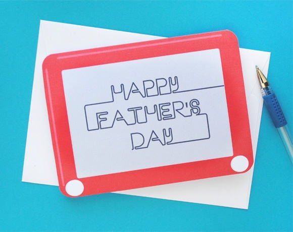 This printable Father's Day card was inspired by the classic toy, Etch A Sketch in blue background