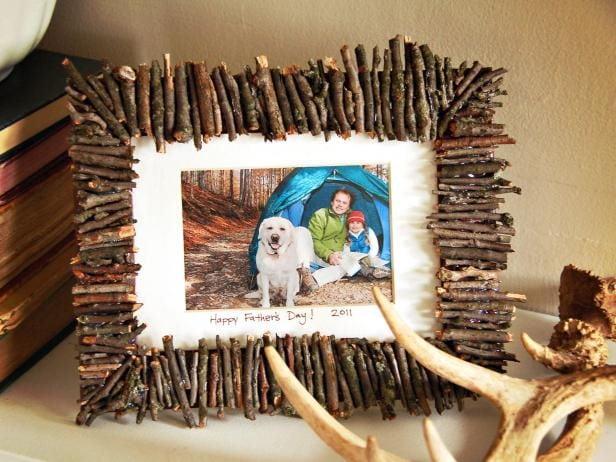Rustic Twig Frame, books, deer horn