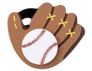 Painted Wooden Craft Shape: Baseball Glove, 3.5 x 3 inches