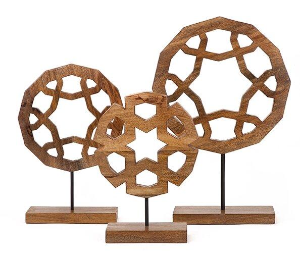 3 Piece Wood Carved Sculpture Set