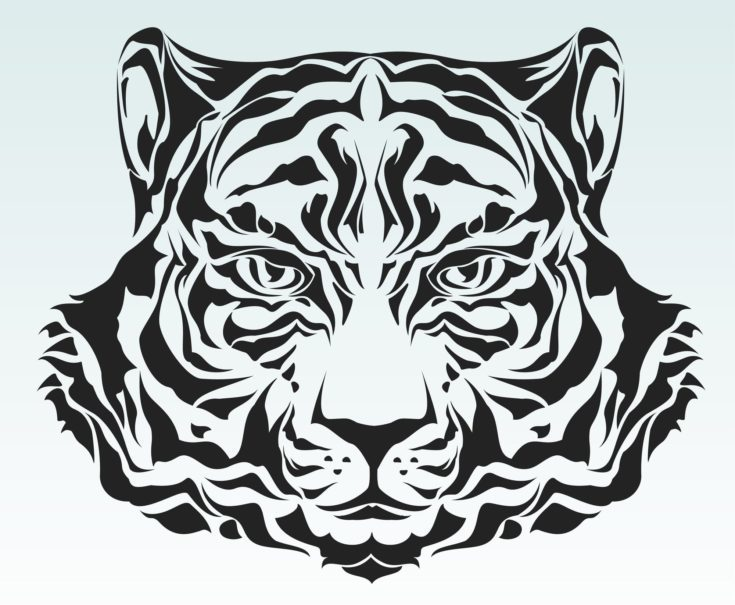 Wood carving template of tiger in white background.