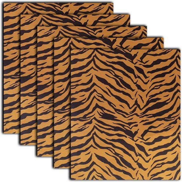 Tiger Patterned Heat Transfer Vinyl Iron On Pattern Foil HTV Bundle for T Shirts, 12x10 Inch, Pack of 5 Sheets
