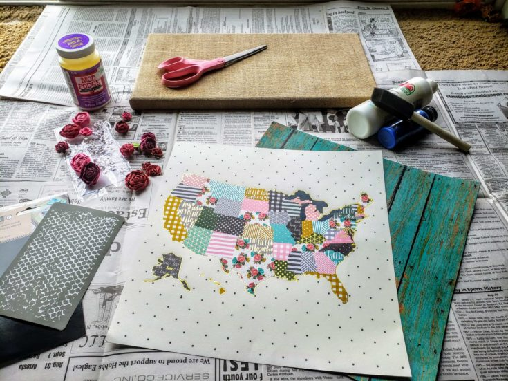 set of different tools for decoupage