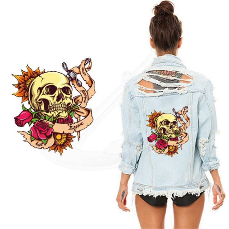 Toonol Rose Skull Patch Lady T-shirt Sweater Jacket isolated in white background