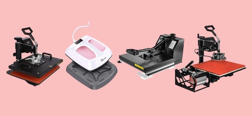 Powerpress brand heat presses in a light pink background.