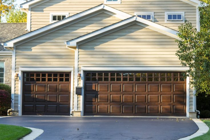 Traditional three car wooden garage
