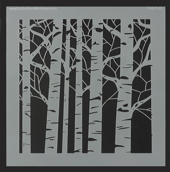 The Crafter's Workshop Stencil - Aspen Trees, 6'' x 6''