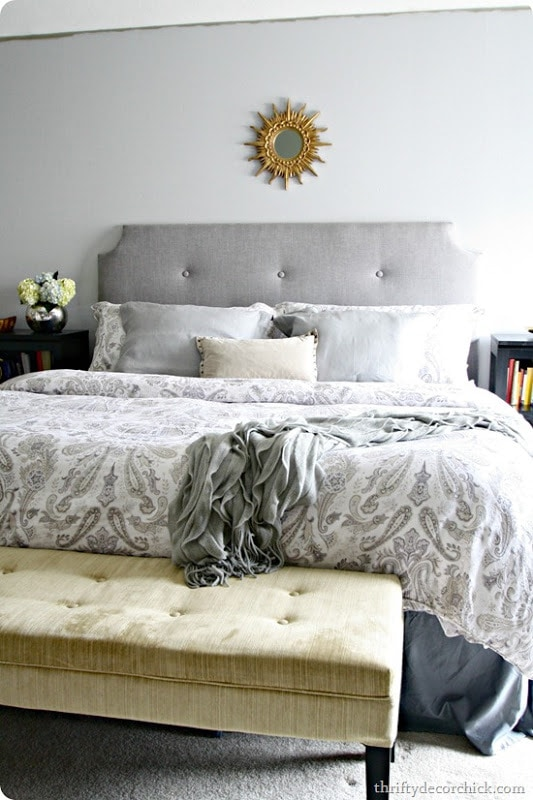 Grey tufted headboards with few buttons
