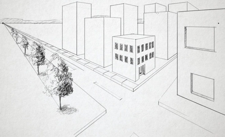 Example of two-point perspective lay out drawn on white paper.