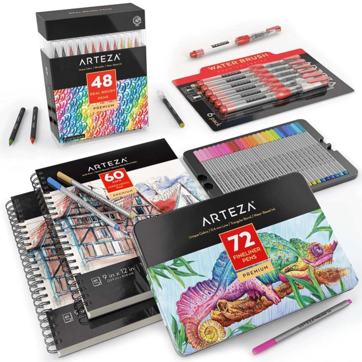Arteza Real Brush Pens + Arteza Mixed Media Pad + Arteza Fineliner Pens + Water Brush