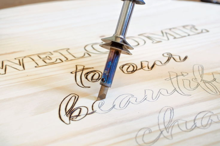 Outlining the Letters - woodburning
