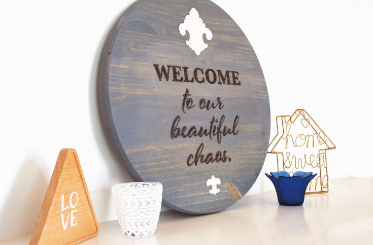 DIY Wood Burning Welcome Sign