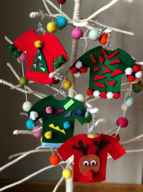 ugly sweaters hanged on the christmas tree