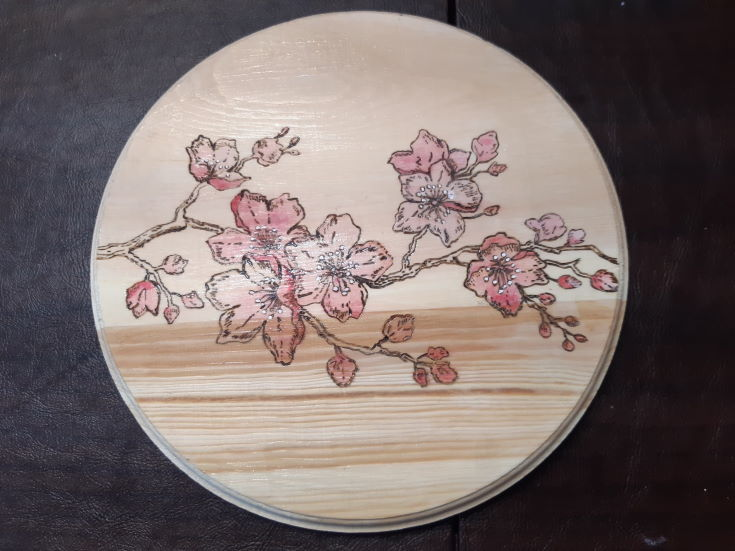 circle wood burning design