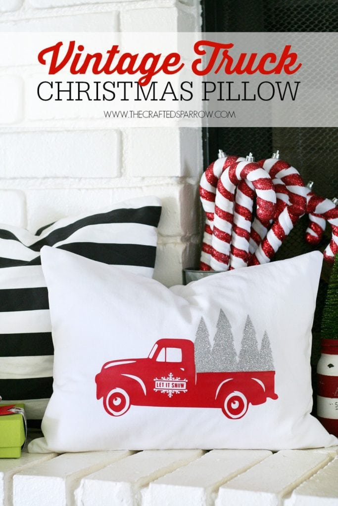 The Crafted Sparrow Vintage Truck Christmas Pillow