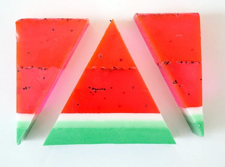 Watermelon Soap cut in different shapes