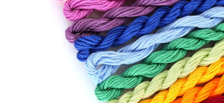 Assorted colors of embroidery floss.