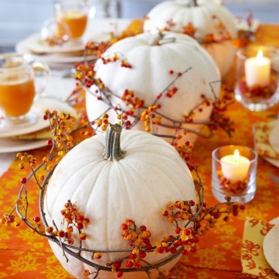 White pumpkin wrapped around with orange creamsicles