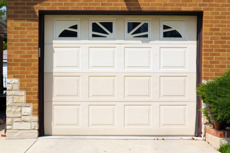white american garage door with upper windows
