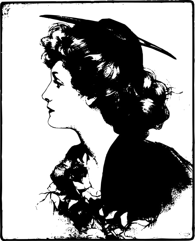 Illustration of a woman for wood carving inna white background.