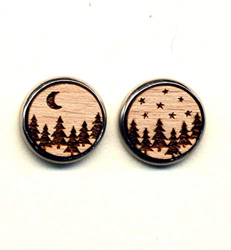 Wood Earrings, Small Stud Earrings, Forest Earrings, Moon Earrings, Star Earrings, Wood Burned Earrings, Surgical Steel Posts earrings, Hypoallergenic Stainless steel Earrings