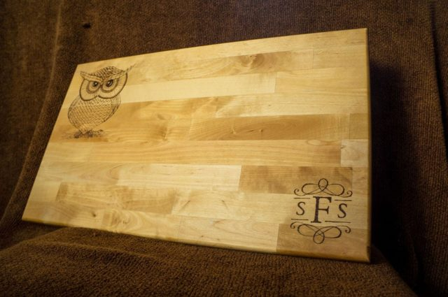 Wood Burning (Pyrography) Cutting Board with an owl design