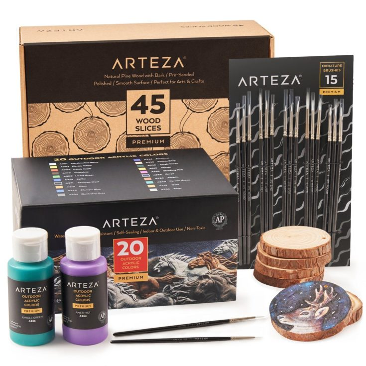 Arteza Outdoor Acrylic Colors + Arteza Premium Wood Slices + Arteza Miniature Brushes
