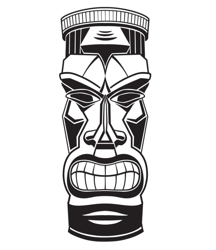 Hawaiian tiki god statue wooden carving template in a white background.