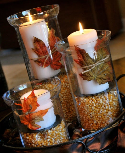 Leaf wrapped candle centerpiece