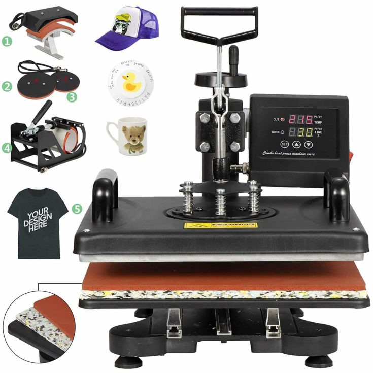 ZENY Upgrated Proffesional Digital Tshirt Heat Press Machine 5 in 1 Swing Away Multifunctional Sublimation Heat Transfer Printer Machine,12 x 15 Inch,5 pcs