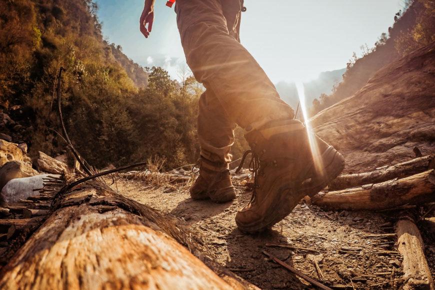 Close up shot of man's feet walking