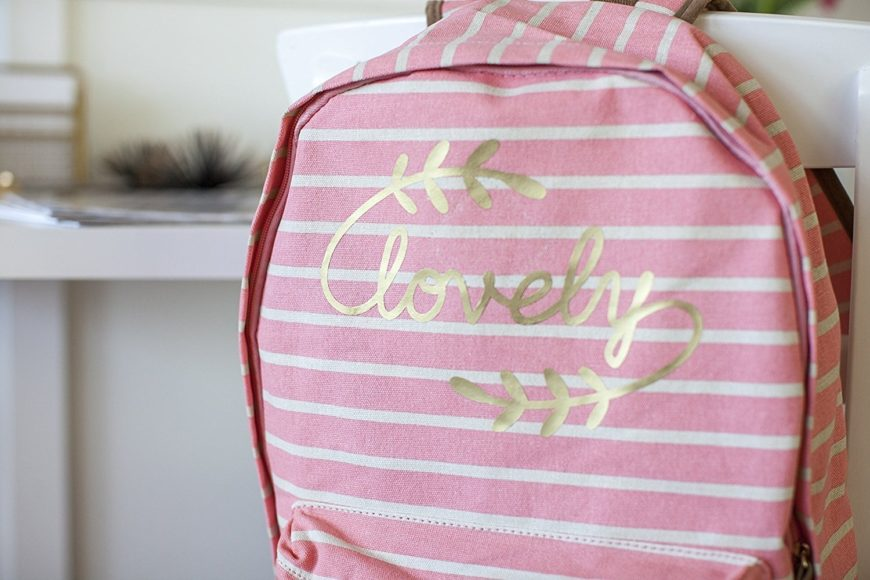 Lovely printed on pink striped bag