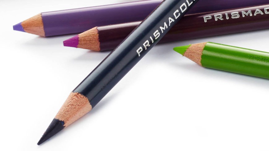 Close up shot of primacolor pencils in white background